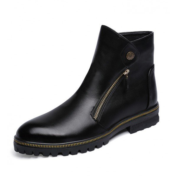 Black Fashion Motorcycle Boots Round Toe Flat Short Boots image 1