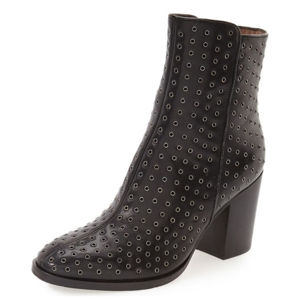 Black Chunky Heel Boots Round Toe Ankle Booties for Women image 1