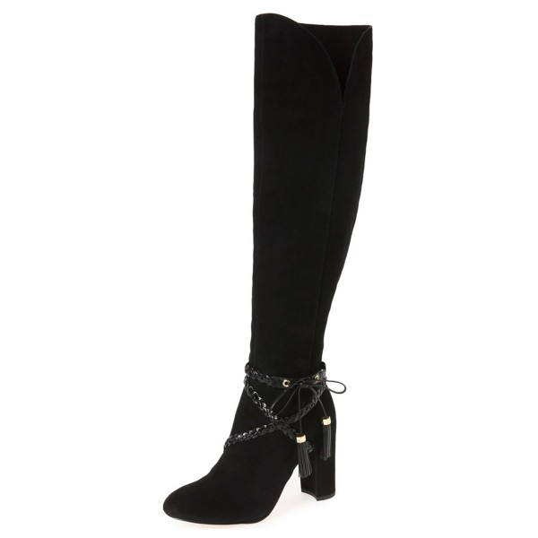 Black Chunky Heel Boots Suede Round Toe Tassels Knee-high Boots image 1