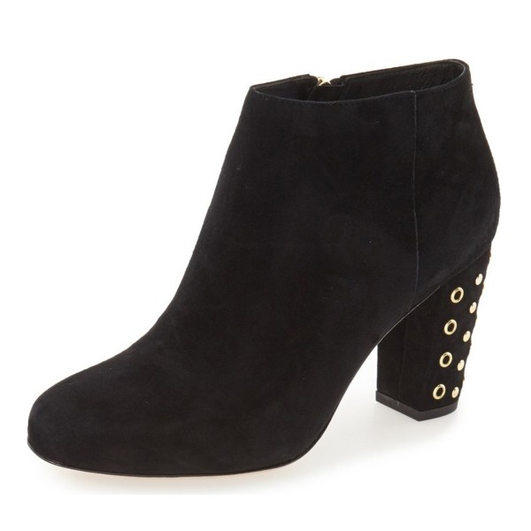 Black Chunky Heel Boots Round Toe Suede Ankle Boots with Gold Studs image 1