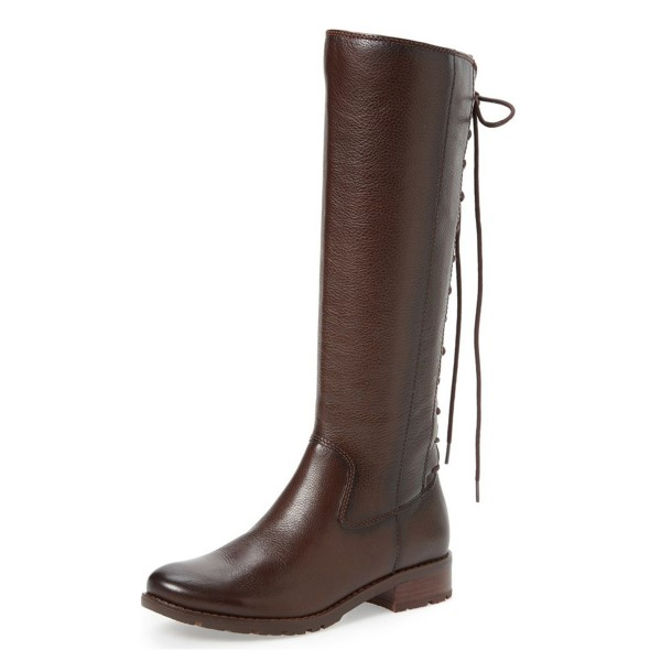 Brown Riding Boots Vegan Leather Round Toe Back Lace up Knee Boots image 1
