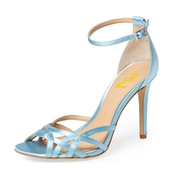 Women's Blue Open Toe Stiletto Heels Ankle Strap Sandals image 1