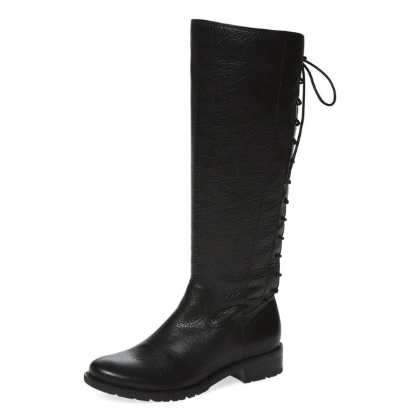 Black Riding Boots Vegan Leather Round Toe Back Lace up Knee Boots image 1
