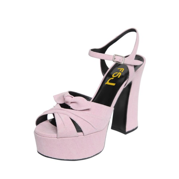 FSJ Pink Chunky Heel Sandals Peep Toe Platform High Heels with Bow image 1