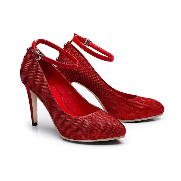 Women's Red Ankle Strap Heels Dress Shoes Closed Toe Pumps for Big Day image 3