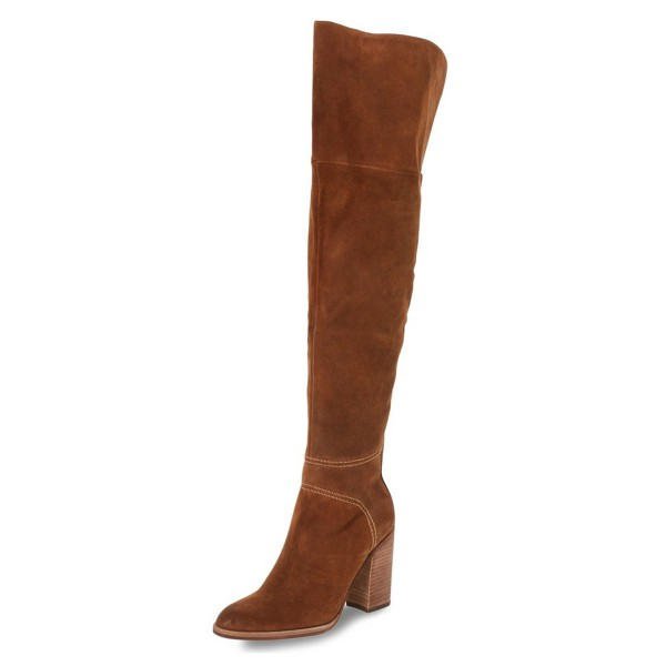 Tan Long Boots Suede Over-the-knee Chunky Heels image 1