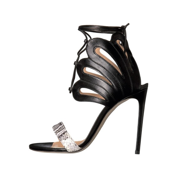Women's Black and Silver Strappy Stiletto Heels Ankle Strap Sandals image 1