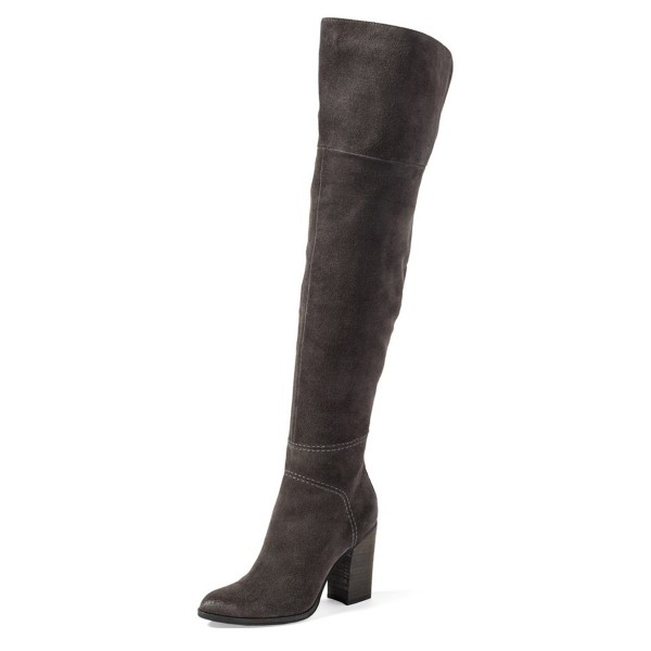 Dark Grey Long Boots Suede Over-the-Knee Chunky Heels  image 1