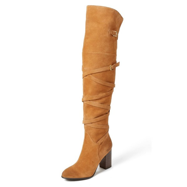 Khaki Long Boots Suede Strappy Chunky Heel Thigh-high Boots image 1