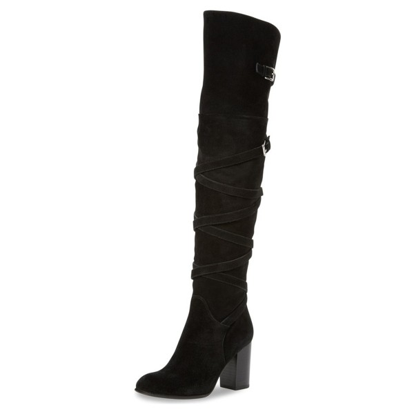 Black Chunky Heel Boots Suede Women's Over-the-knee Boots by FSJ image 1