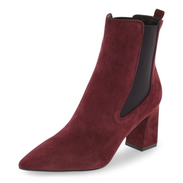 Burgundy Chelsea Boots Chunky Heel Pointy Toe Suede Shoes for Work image 1