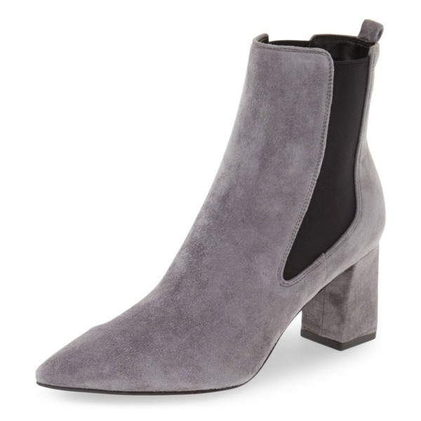 Grey Chelsea Boots Suede Chunky Heels Pointy Toe Ankle Booties image 1