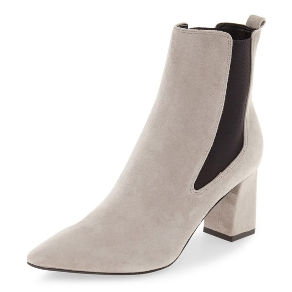 Beige Chelsea Boots Chunky Heel Pointy Toe Suede Shoes for Work  image 1
