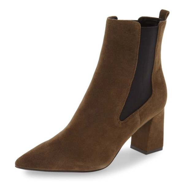 Brown Chelsea Boots Pointy Toe Chunky Heel Suede Shoes image 1