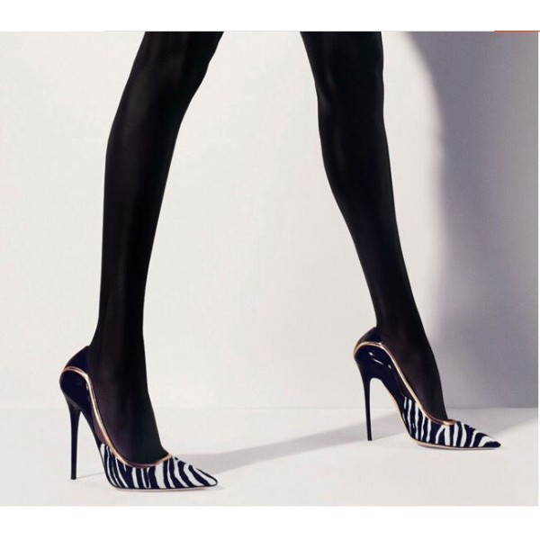 Black and White Heels Pointy Toe Zebra Stiletto Heels Pumps image 8