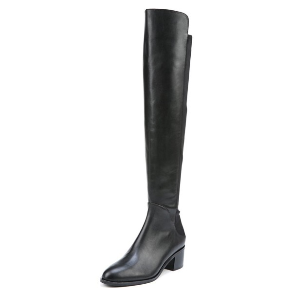 Women's Black with Zipper Knee Over Chunky Heel Boots image 1