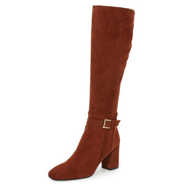 Brown Square Toe Boots Suede Block Heel Fashion Knee Boots image 1