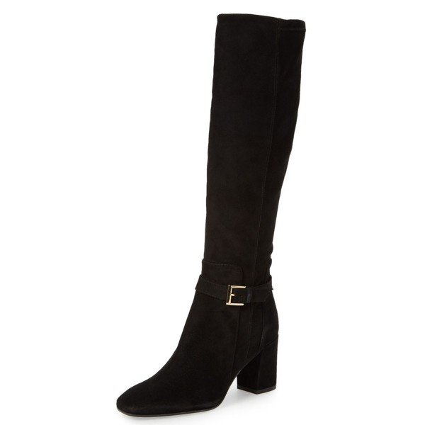 Black Women's Dress Boots Suede Block Heel Knee Boots image 1
