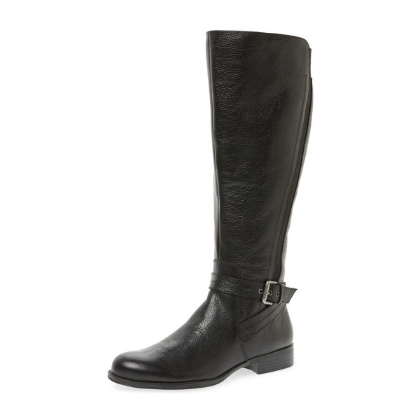 Black Round Toe Buckles Low Heel Textured Vegan Leather Riding Boots image 1