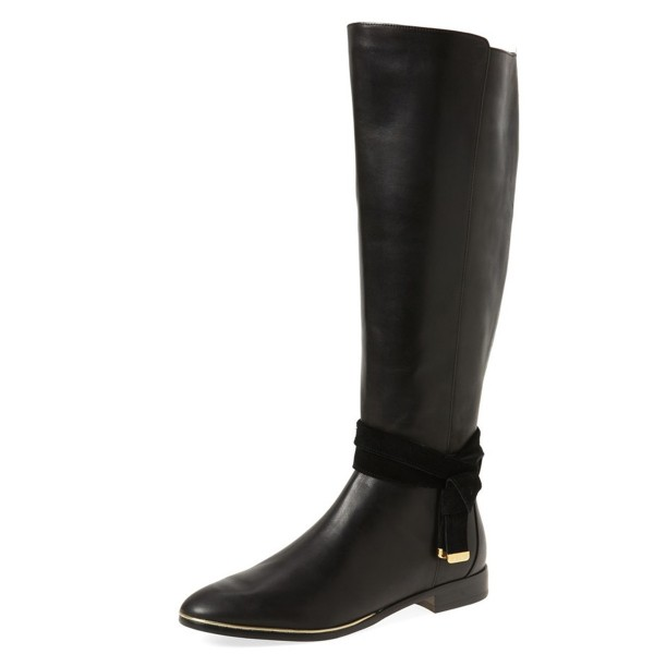FSJ Black Flat Boots Pointy Toe Knee Boots with Tie image 1