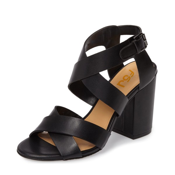 Black Block Heel Sandals Open Toe Cross-over Strap Summer Sandals image 1