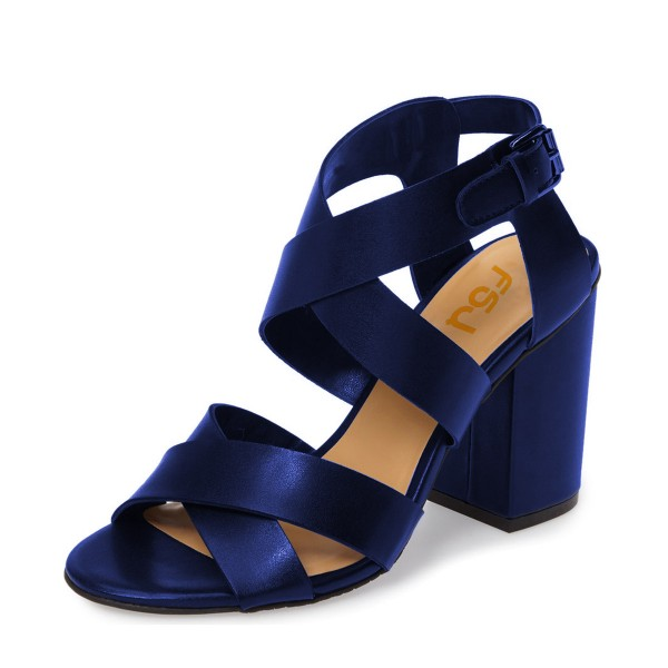 offer discounts 100% authentic sells Navy Blue Sandals Open Toe Cross-over Strap Block Heel Sandals for ...