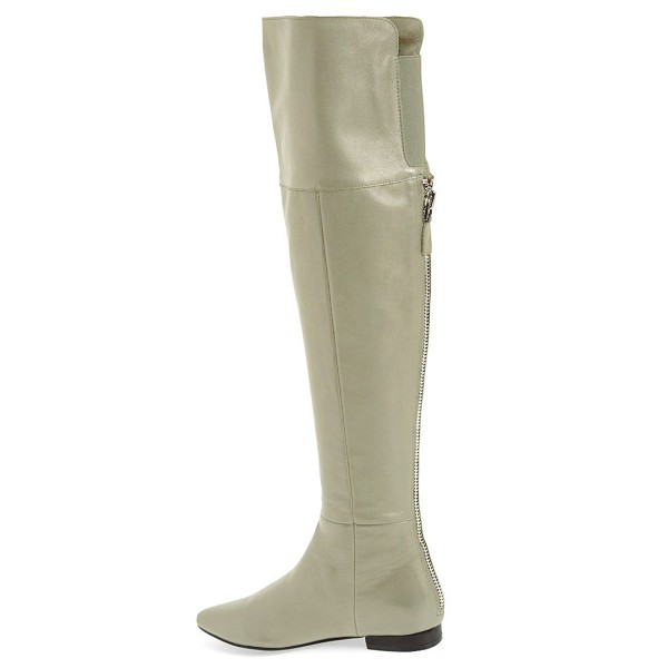 Light Grey Flat Thigh High Boots Pointy Toe Long Boots by FSJ image 3