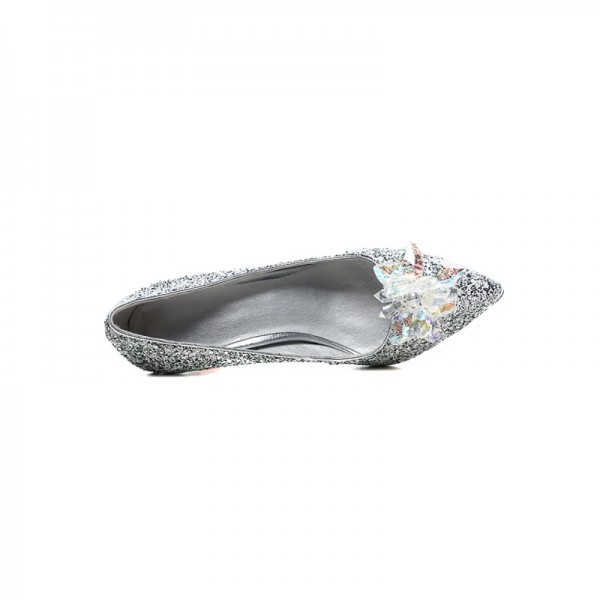 Women's Silver Dazzling Crystal Decorated Stiletto Heel Wedding Heels image 2