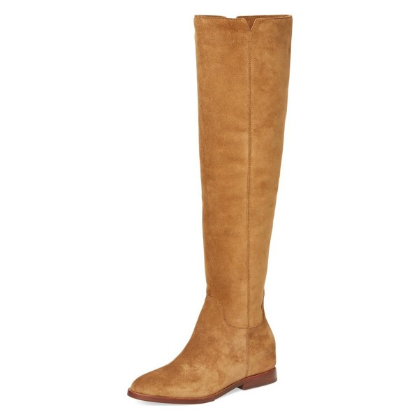 Suede Tan Boots Vintage Comfortable Flats Knee-high Boots image 1