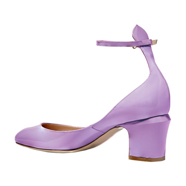 Orchid Round Toe Block Heel Ankle Strap Pumps for Ladies image 2