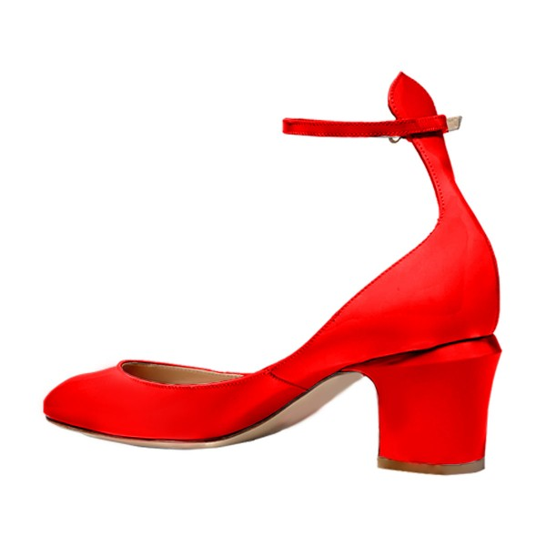 Red Round Toe Chunky Heels Ankle Strap Pumps for Ladies image 2