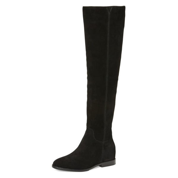 Black Long Boots Flat Knee-high Boots for Women image 1