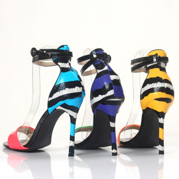 Hot Pink Ankle Strap Sandals Blue Python Open Toe Stiletto Heels image 5