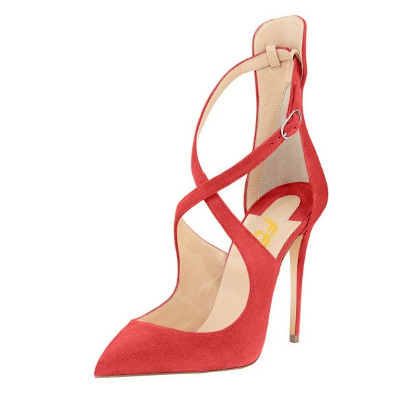 Women's Rosy Crossed-over Ankle Stiletto Heel Strappy Shoes image 1
