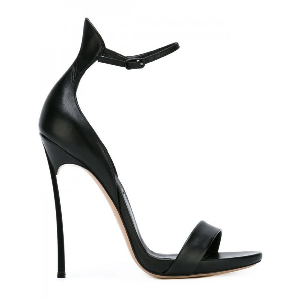 Black Vegan Ankle Strap Sandals Open Toe Stiletto Heel Office Sandals image 3