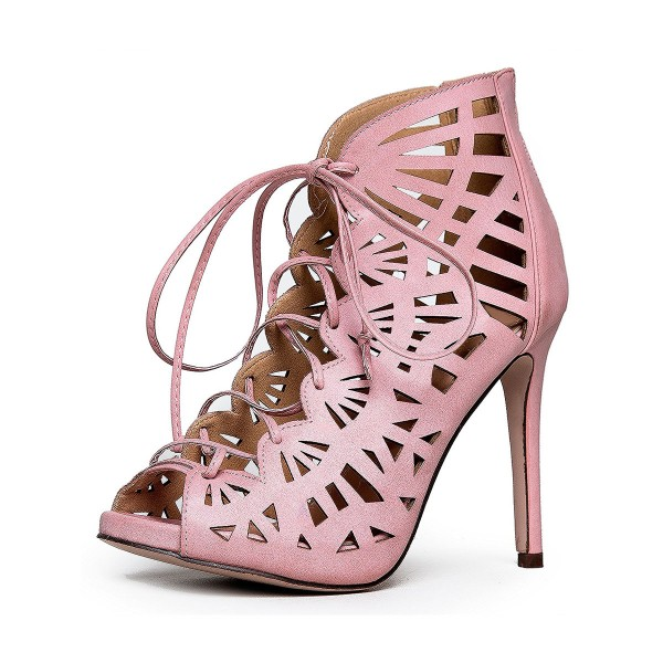 Women's Pink Hollow-out Formal Evening Dress Lace-up Sandals image 1