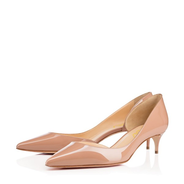 Nude Kitten Heels Dress Shoes Pointy Toe Patent Leather Dorsay Pumps image 1