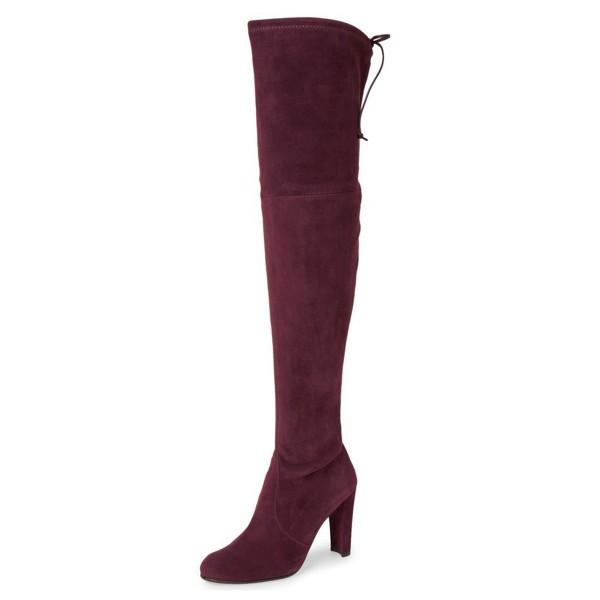 Women's Suede Burgundy Chunky Heel Boots Round Toe Thigh-high Boots image 1