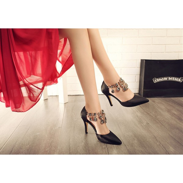 Black Evening Shoes Suede Stiletto Heels Pumps for Party image 2