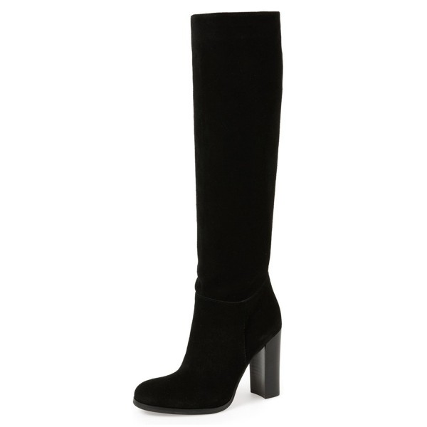 Women's Leila Black Suede Knee High Chunky Heel Boots image 1