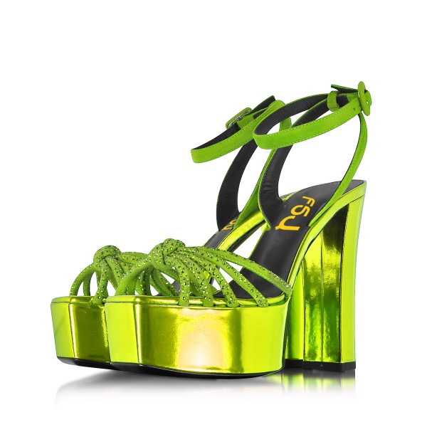 Neon Prom Shoes Ankle Strap Chunky Heel Platform Sandals Evening Shoes image 1
