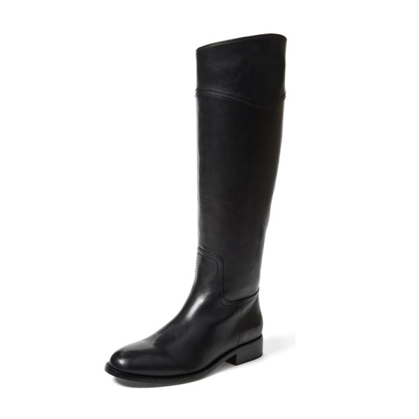 Black Riding Boots Round Toe Shiny Vegan Leather Flat Knee Boots image 1