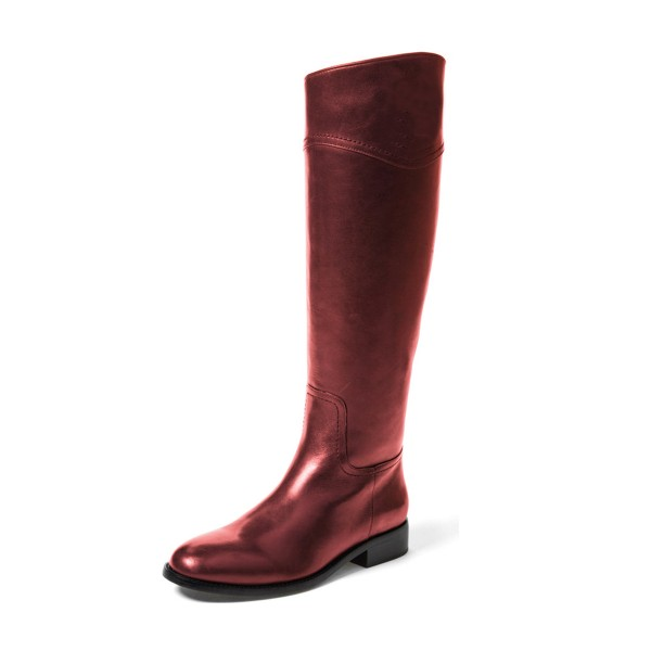 Red Riding Boots Round Toe Shiny Vegan Leather Flat Knee Boots image 1
