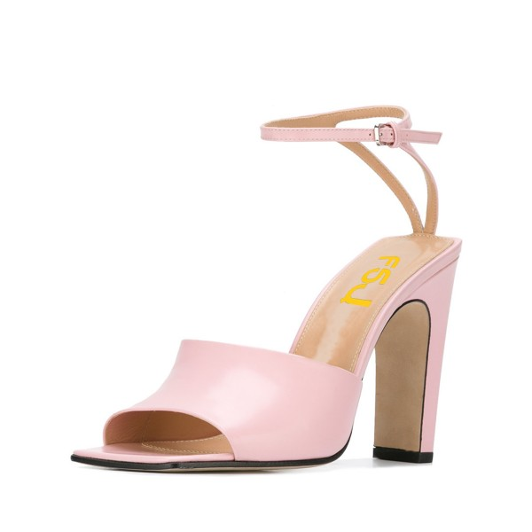 Women's Pink Heels Peep Toe Ankle Strap Sandals  image 1