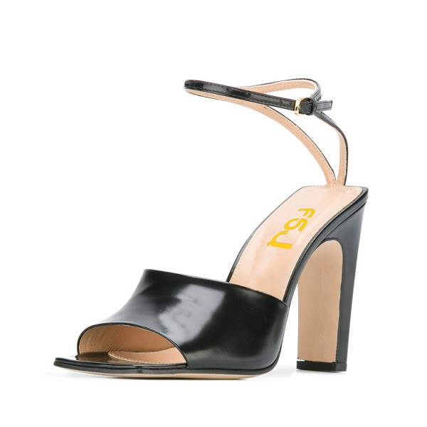 Women's Black Heels Peep Toe Ankle Strap Sandals image 1
