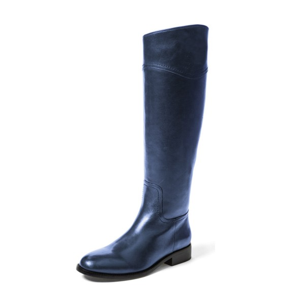 Navy Fashion Boots Flat Knee-high Comfy Boots image 1