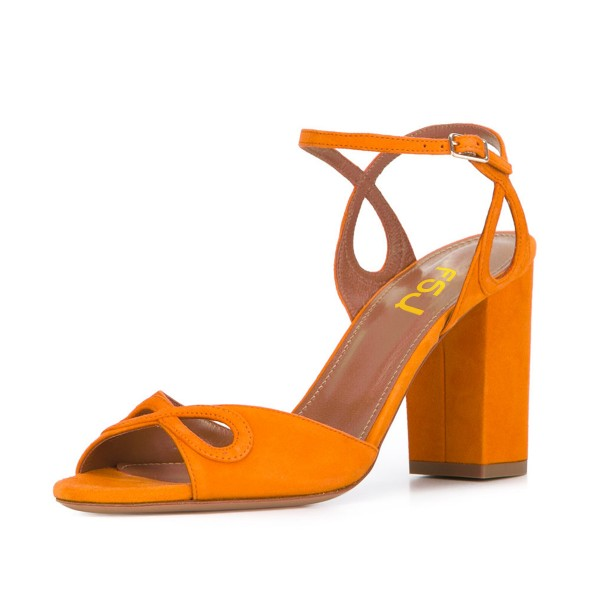 Women's Orange Ankle Strap Prom Chunky Heel Sandals image 1