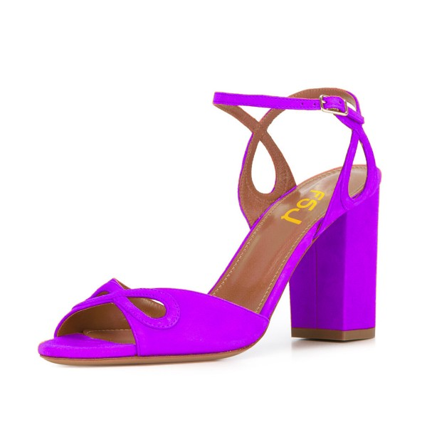 Women's Purple Ankle Strap Heels Prom Chunky Heels Sandals  image 1