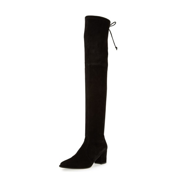 Black Long Boots Suede Chunky Heel Thigh-high Boots image 1