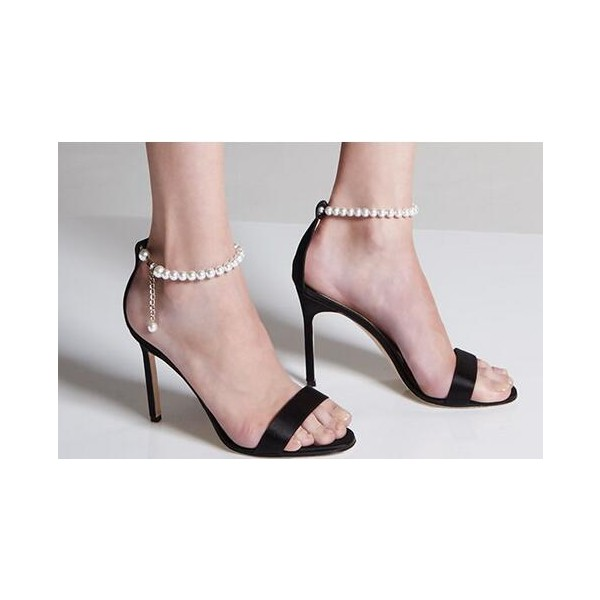 Women's Black Pearl Stiletto Heels Open Toe Ankle Strap Sandals  image 4
